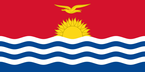 The Kiribati flag, a nice sunset into the ocean. That's definitely all they see around them.