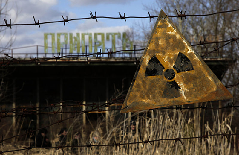 A radiation warning sign in Pripyat, the town next to the Chernobyl Nuclear Power Plant